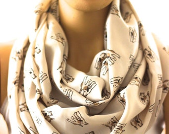 Terrier dog Infinity scarf Animals scarf  Women Scarf. Gift Dog Lover Gift ideas Dog print scarf animal print scarf Dog scarf dog scarves