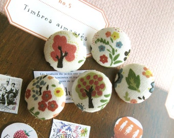 Handmade Small Children Cream Red Green Trees Floral Flowers Fabric Covered Buttons, Flat Backs, 0.75 Inches 5's
