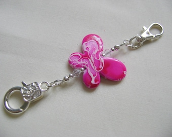 Hot Pink Butterfly Stitch Marker Holder