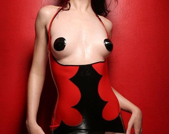 Red/ black latex lingerie dress with pantie and pasties by Venus Prototype