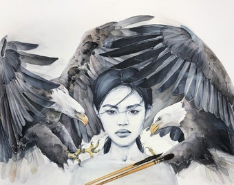 Overwhelming Power ORIGINAL watercolor painting, Girl with Eagles, Sensual, Art, Fashion, Woman face, Wall Art, Contemporary, Scandinavian