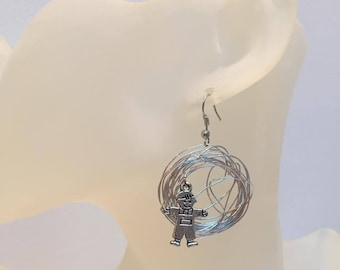 Aluminum silver wire with child-abstract charm earrings