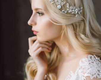 Wedding Headband,  Headband, Pearl Headband, Wedding Hair Vine, Bridal Wreath, Floral Tiara, Diadem, Wedding Headpiece, Bridal Tiara- LENA