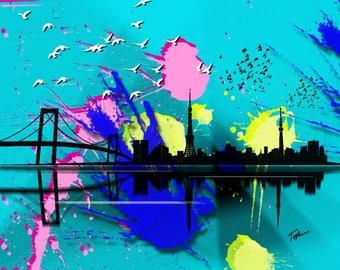 "Limited Edition Print.  "" Sydney "" Digital painting, Wall art, Painting. Art print"