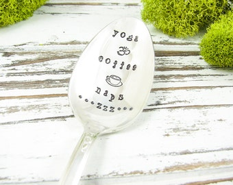 Yoga Coffee Naps. Stamped Spoon for the Yoga Lover, Coffee Lover and Nap Lover. Hand Stamped Vintage Silverware for Gift Giving. 450SP