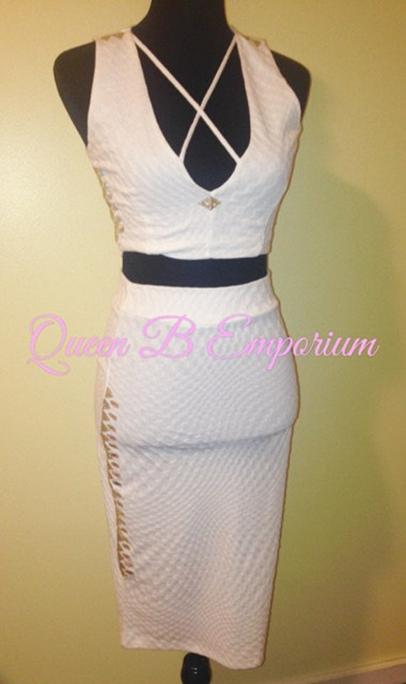 Two Piece Crystal AB Rhinestone Classy White Dress Clubwear Outfit 2 Piece set Size M Medium Queen B Emporium Diamond Quality Shape Wear