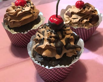 Chocolate covered cherries cupcakes