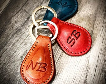 Key Ring Holder Italian Vegetable Tanned Leather choose colors and initials