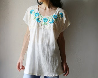 1970s Embroidered Cotton Gauze Tunic
