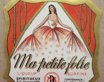Circa 1930s Vintage Paper France Liquor Bottle Paper Label Pretty Lady Label
