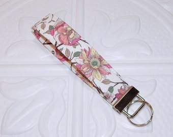 Fabric Keychain Lanyard - Wristlet Key Fob - Fabric Key Chain - Floral Key Chain - Floral Key Fob - Ready To Ship