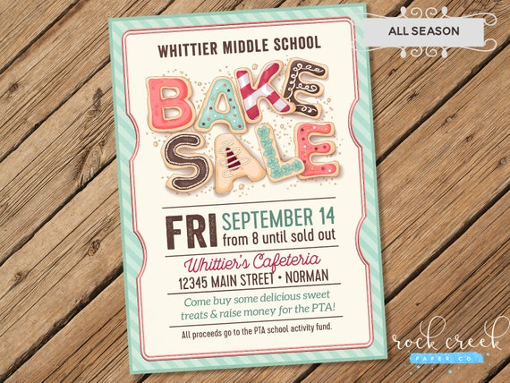 Bake Sale Flyer Bake Sale Invitation School Fundraiser
