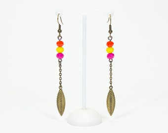 Fine earrings multicolored and bronze