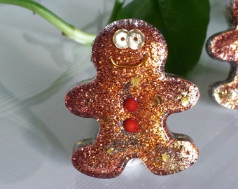 Orgone Energy Gingerbread Man Mini 1 pc -Quartz Crystal, Pyrite, Blue Kyanite