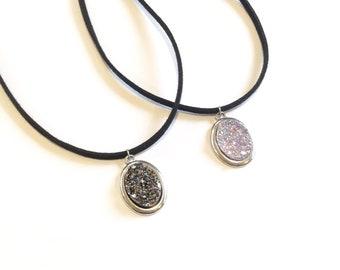 More colours! Faux suede resin druzy charm necklace