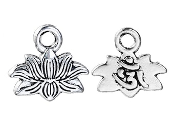5 Small Antiqued Silver Lotus Flower Charms