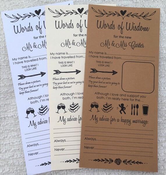Wedding Words of Wisdom Card Scrolls Advice Bride & Groom