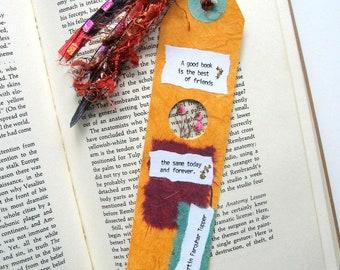 A good book - Earth Bookmark - handmade paper, pressed flower, gypsophila, pink, book lover, reader, librarian, teacher gift, graduation