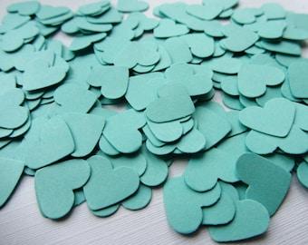 Wedding confetti hearts Wedding turquoise Hearts Paper hearts 200 die cut hearts paper heart confetti weddings