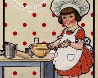 Vintage Cooking Images Little Girl Baker Digital Download