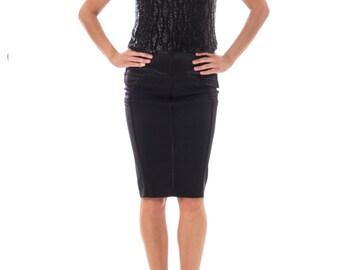 1950s Silk Chiffon Black Beaded Top Size: M