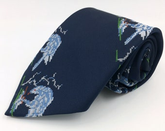 Vintage 1970s Wide Navy Blue Polyester Tie with Bird Pattern by Wembley