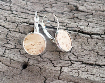 Cork earrings, tiny earrings, simple earrings, gift for her, Valentine's, Mother's Day, best friend gift, girlfriend gift