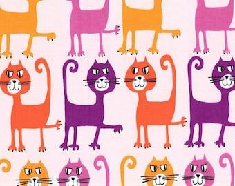 Michael Miller Fabric Dancing Cats Coral Pets a Plenty