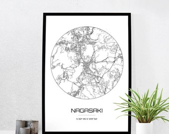Nagasaki Map Print - City Map Art of Nagasaki Japan Poster - Coordinates Wall Art Gift - Travel Map - Office Home Decor