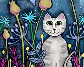 Mitternacht grau Tabby Katze im Garten Shelagh Duffett - Druck