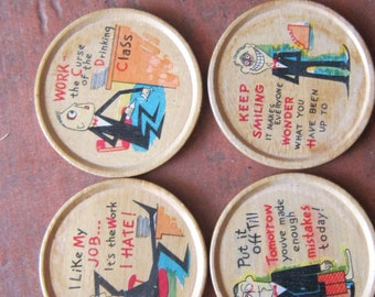 four wood coasters funny sayings vintage coasters