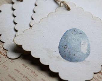 6 Watercolor Print Pale Blue Bird Egg Tags, Set of 6, Recycled Paper, Scallop Edge, Jute Twine - Free US Shipping