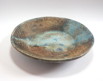 Seashore ceramic bowl, pottery dish, blue bowl, amonites, seashells, rustic bowl, home decor, nature inspired, handmade, brown bowl, TM54