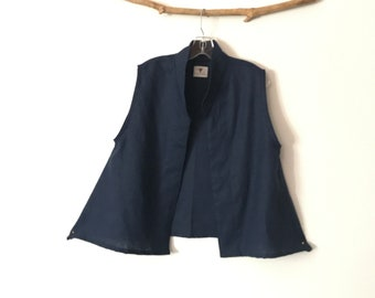 minimalist deep blue heavy  linen vest ready to wear size M / short length gray linen vest / petite linen vest/ size M L vest