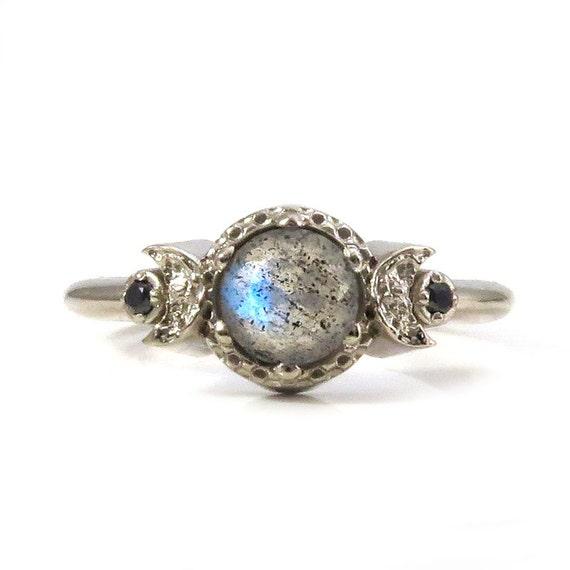 Moon Phase Engagement Ring with Labradorite and Black Diamonds - 14k Palladium White Gold Gothic Jewelry