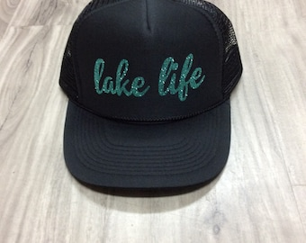 Lake Life Women's Trucker Hat Lake Trucker Hats Glitter Summer Trucker Hats Womens Summer Trucker Hats