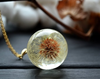 Womens Dandelion seeds necklace One-of-a-kind gift Flower jewelry Terrarium jewelry Dandelion head necklace Anniversary gift Gift for women
