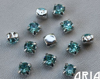LIGHT TURQUOISE: Swarovski SS29 6.5mm 17704 Xilion Rhodium Plated Two Hole Sew-On Slider Bead Component (12)