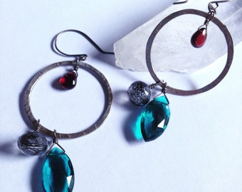 Jeweled Hoop Love - Good Vibes - Seattle Love - Teal Quartz Tourmalinated Quartz Garnet