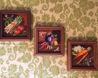 Vintage Needlepoints, Set/3, Framed Vegetable Kitchen Needlepoint, Dining Room Decor, Farmhouse Chic
