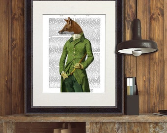 Fox painting Fox Print - Fox in Green Jacket - Fox art regency era regency men cool mens gift for men woodland animal woodland wall art