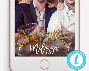 Birthday Snapchat Filter, Birthday Snapchat Geofilter, Editable Snapchat Filter, Templett, 21st Birthday, 21st Birthday Snapchat Filter