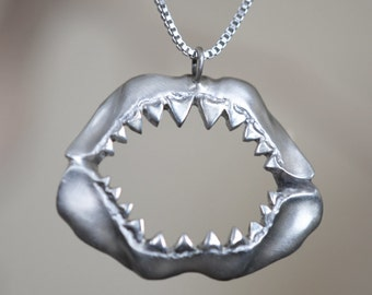 Shark Jaw Necklace, Sterling Silver, Handcrafted, Shark Week, Jaws, Skull, Great White, Unisex, Shorter Chain.