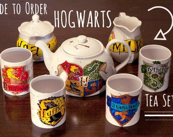 Made to Order Hogwarts Tea Set - You choose the complexity - Hand painted, every set is unique - Harry Potter Tea Set