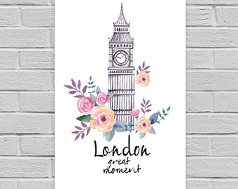London Print, London art print, printable wall art. Travel city poster, wall decor, London digital print, London Hand Drawn Art Print