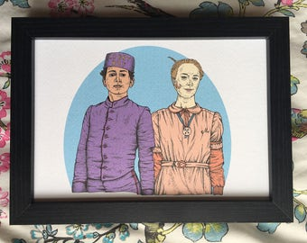 The Grand Budapest Hotel Wes Anderson illustration art print