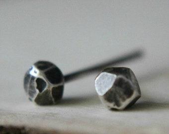 Small Silver Studs, Silver Stud Earrings, Silver Faceted Studs, Faceted Studs Silver, Dainty Silver Studs, Metalwork Stud Earrings, Recycled