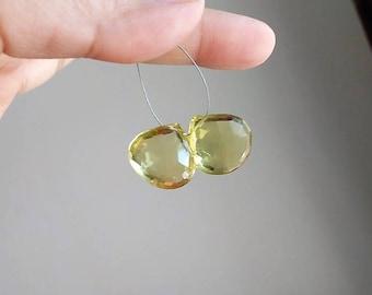 Lemon Quartz Gemstone Briolette Faceted Heart 17.5mm and 17mm 2 beads
