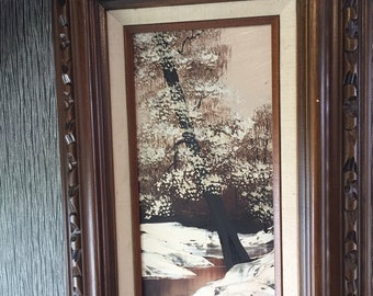 Vintage oil Painting on Board by LUCY 1960's ART Snow Forrest Carved Frame