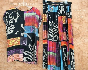 Vintage Tunic Skirt Set ~ Colorful Abstract Blouse & Skirt Set ~ Rayon Size 12 usa ~ Mosaic Scroll Design ~ Summer Fashion ~ Free Flowing